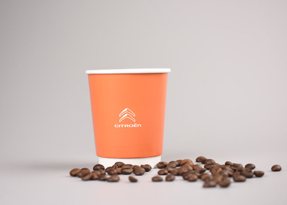 Custom Printed Insulated Paper Cups Takeaway 8 Ounce Paper Coffee Cups